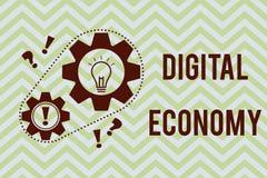 Słowa writing teksta Digital gospodarka Biznesowy pojęcie dla sieci działalność gospodarcza i technologie na całym świecie royalty ilustracja