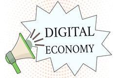 Słowa writing teksta Digital gospodarka Biznesowy pojęcie dla sieci działalność gospodarcza i technologie na całym świecie ilustracja wektor