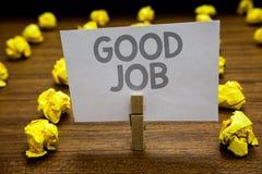 Słowa writing teksta Dobra praca Biznesowy pojęcie dla zachęca someone dla jego wysiłek ciężkiej pracy sukcesu lub wygrania Cloth Zdjęcie Stock
