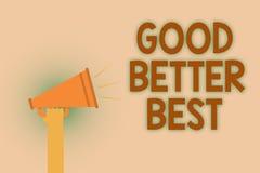 Słowa writing teksta Dobry Lepszy Najlepszy Biznesowy pojęcie dla Przyrostowego ilości ulepszenia osiągnięcia doborowości ręki br ilustracja wektor