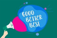 Słowa writing teksta Dobry Lepszy Najlepszy Biznesowy pojęcie dla Przyrostowej ilości ulepszenia osiągnięcia doborowości Przenosi ilustracja wektor
