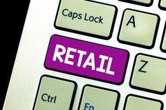 Słowa writing teksta handel detaliczny Biznesowy pojęcie dla sprzedaży towary społeczeństwo w stosunkowo małych ilości sprzedaży  obraz stock