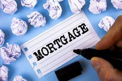 Słowa writing teksta hipoteka Biznesowy pojęcie dla Przypusczającego dobra własność pożyczkodawca jako gwarancja od pożyczki pisa zdjęcia royalty free