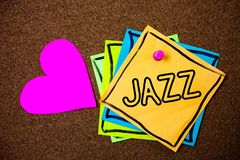 Słowa writing teksta jazz Biznesowy pojęcie dla typ muzyka czarnego Amerykańskiego początku Muzykalnego gatunku rytmu pomysłów wi Fotografia Royalty Free