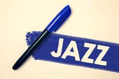 Słowa writing teksta jazz Biznesowy pojęcie dla typ muzyka czarnego Amerykańskiego początku Muzykalnego gatunku rytmu pomysłów wi Obrazy Royalty Free