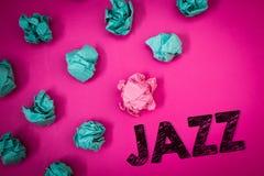 Słowa writing teksta jazz Biznesowy pojęcie dla typ muzyka czarnego Amerykańskiego początku Muzykalnego gatunku rytmu pomysłów wi Zdjęcia Royalty Free