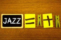 Słowa writing teksta jazz Biznesowy pojęcie dla typ muzyka czarnego Amerykańskiego początku Muzykalnego gatunku rytmu pomysłów Si Obrazy Royalty Free