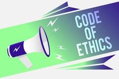 Słowa writing teksta kodeks etyczny Biznesowy pojęcie dla morału Rządzi Etycznej prawości rzetelności procedury megafonu Dobrego  zdjęcie royalty free