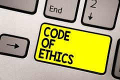 Słowa writing teksta kodeks etyczny Biznesowy pojęcie dla Moralnej reguły prawości rzetelności Etycznej Dobrej procedury koloru ż fotografia stock