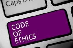 Słowa writing teksta kodeks etyczny Biznesowy pojęcie dla Moralnej reguły prawości rzetelności Etycznej Dobrej procedury Klawiatu zdjęcie stock