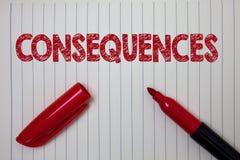 Słowa writing teksta konsekwencje Biznesowy pojęcie dla rezultata wynika Przesyłał wynik trudności rozgałęzienia wniosku notatnik zdjęcia stock
