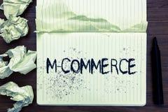 Słowa writing teksta M handel Biznesowy pojęcie dla handlowych transakcj prowadzić elektronicznie telefonu komórkowego Otwartym n obraz stock