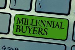 Słowa writing teksta Millennial nabywcy Biznesowy pojęcie dla typ konsumenci które są zainteresowani w wykazywać tendencję produk obrazy royalty free