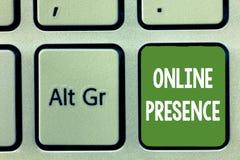 Słowa writing teksta Online obecność Biznesowy pojęcie dla istnienia który może znajdujący przez online rewizi someone zdjęcia royalty free