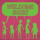 Słowa writing teksta powitanie Z powrotem Biznesowy pojęcie dla używać witać powrót someone umieszczać sylwetkę lub coś ilustracji