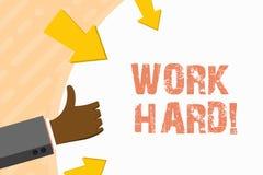 Słowa writing teksta praca Mocno Biznesowy pojęcie dla someone który stawia wysiłek w robić zadanie ręce i uzupełniać royalty ilustracja