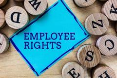 Słowa writing teksta pracownika prawicy Biznesowy pojęcie dla Wszystkie pracowników podstawowe prawa w ich swój miejscu pracy zdjęcia stock