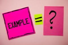 Słowa writing teksta przykład Biznesowy pojęcie dla Ilustracyjnego próbka modela podążać przewdonika wyjaśnienia pomysłów wiadomo Obrazy Royalty Free