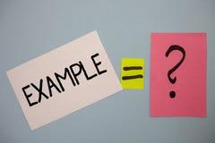 Słowa writing teksta przykład Biznesowy pojęcie dla Ilustracyjnego próbka modela podążać przewdonika wyjaśnienia pomysłów wiadomo Fotografia Stock