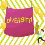 Słowa writing teksta różnorodność Biznesowy pojęcie dla Komponującego różnej element Różnorodnej rozmaitości Wieloetniczny mężczy ilustracja wektor