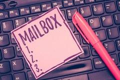 Słowa writing teksta skrzynka pocztowa Biznesowy pojęcie dla pudełka wspinał się na poczta dokąd poczta jest dostarczającym Kompu zdjęcia stock