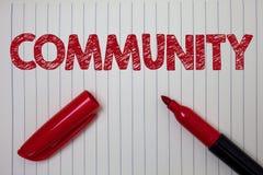 Słowa writing teksta społeczność Biznesowy pojęcie dla sąsiedztwa skojarzenia stanu afiliaci Alliance jedności grupy notatnika pa royalty ilustracja