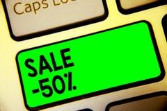 Słowa writing teksta sprzedaż 50 Biznesowy pojęcie dla A promo ceny rzecz przy 50 procentów markdown klawiatury zieleni klucza za royalty ilustracja