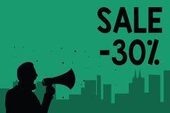 Słowa writing teksta sprzedaż 30 Biznesowy pojęcie dla A promo ceny rzecz przy 30 procentów markdown mężczyzna mienia megafonu ob royalty ilustracja