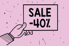 Słowa writing teksta sprzedaż 40 Biznesowy pojęcie dla A promo ceny rzecz przy 40 procentów markdown mężczyzna ręki mienia papier ilustracja wektor