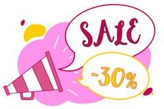 Słowa writing teksta sprzedaż 30 Biznesowy pojęcie dla A promo ceny rzecz przy 30 procentów markdown megafonu głośnika mowy bubbl royalty ilustracja