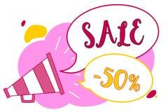 Słowa writing teksta sprzedaż 50 Biznesowy pojęcie dla A promo ceny rzecz przy 50 procentów markdown megafonu głośnika mowy bubbl ilustracja wektor