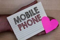 Słowa writing teksta telefon komórkowy Biznesowy pojęcie dla A handheld przyrządu używać wysyłać otrzymywa wezwania i wiadomość m obraz stock