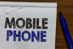 Słowa writing teksta telefon komórkowy Biznesowy pojęcie dla A handheld przyrządu używać wysyłać otrzymywa wezwania i wiadomość m fotografia stock