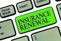 Słowa writing teksta ubezpieczenia odnowienie Biznesowy pojęcie dla ochrony od pieniężnej straty Kontynuuje zgodę obraz stock