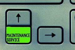 Słowa writing teksta utrzymania usługa Biznesowy pojęcie dla utrzymania produkt usługa w Dobrym Operacyjnym warunku zdjęcia stock