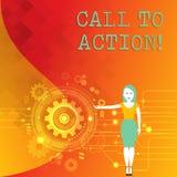 Słowa writing teksta wezwanie akcja Biznesowy pojęcie dla najwięcej ważnej części online cyfrowa kampanii marketingowej kobieta ilustracji