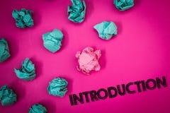Słowa writing teksta wprowadzenie Biznesowy pojęcie dla Pierwszy części dokument Formalna prezentacja widownia pomysłów wiadomośc obraz stock