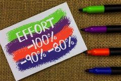 Słowa writing teksta wysiłek 100 90 80 Biznesowy pojęcie dla pozioma determinaci dyscypliny motywaci Kolorowe fala z białym pa zdjęcia royalty free