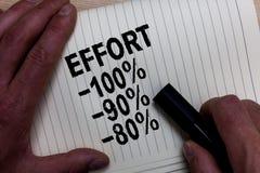 Słowa writing teksta wysiłek 100 90 80 Biznesowy pojęcie dla pozioma determinaci dyscypliny motywaci mężczyzna ręki chwyta czarna obrazy stock