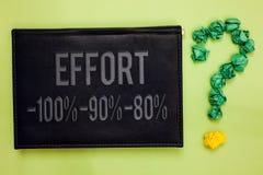Słowa writing teksta wysiłek 100 90 80 Biznesowy pojęcie dla pozioma determinaci dyscypliny motywaci zieleni z powrotem czerni de zdjęcia stock