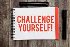 Słowa writing teksta wyzwanie Yourself Biznesowy pojęcie dla Ustawiać Wysokich standardy Celuje dla Niemożliwego obraz royalty free