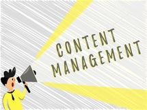 Słowa writing teksta zawartości zarządzanie Biznesowy pojęcie dla procesu który zbiera kieruje informację i publikuje royalty ilustracja