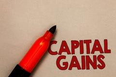 Słowa writing teksta zyski kapitałowi Biznesowy pojęcie dla więzi części zapasów zysku podatku dochodowego funduszy inwestycyjnyc obrazy royalty free
