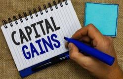 Słowa writing teksta zyski kapitałowi Biznesowy pojęcie dla więzi części zapasów zysku podatku dochodowego funduszy inwestycyjnyc obraz royalty free