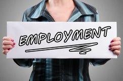 Słowa zatrudnienie na białym znaku obraz stock