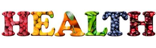 Słowa ` zdrowie ` różni warzywa i owoc Obraz Royalty Free
