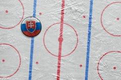 Słowacki hokejowy krążek hokojowy na miejscu Fotografia Royalty Free