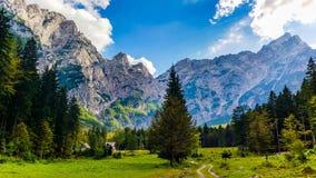 Słoweński idylliczny widok górski Zdjęcia Stock