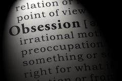 Słownik definicja słowo obsesja obraz stock