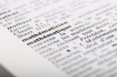 Słownik przy słów mathematiques fotografia stock